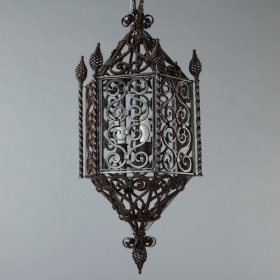 Photo of antique French Wrought Iron Lantern with Finials