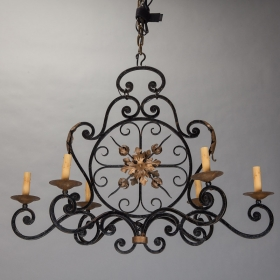 Photo of antique 6 Light Gilded Iron Chandelier with Circular Medallion Center