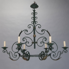 Photo of antique French Six Light Green Wrought Iron Chandelier