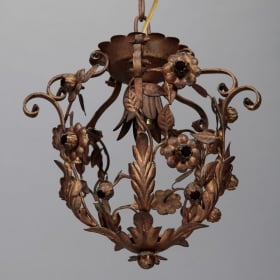 Photo of antique Small One Light Floral Tole Hanging Fixture