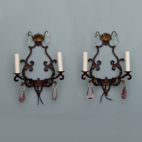 Photo of antique Pair Two Light Iron and Crystal Sconces