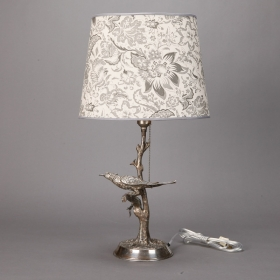 Photo of antique Silver Plate Table Lamp with Bird in Tree