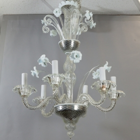 Photo of antique Six Light Venetian Glass Clear and White Daffodil Chandelier