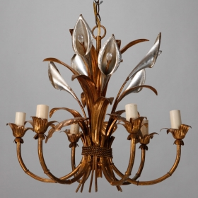 Photo of antique Unusual Italian Tole Chandelier with Calla Lilies and Crystals