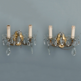 Photo of antique Pair Two Arm Maria Theresa Sconces