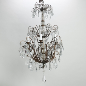Photo of antique Italian Three Tier Crystal Chandelier with Dark Metal Frame