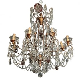 Photo of antique Eight Light Italian Crystal Chandelier with Gilt Wood Bobeches