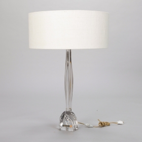 of antique tall mid century daum clear glass table lamp with shade. Black Bedroom Furniture Sets. Home Design Ideas