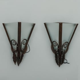 Photo of antique Pair French Art Deco Fer Forge Wall Sconces