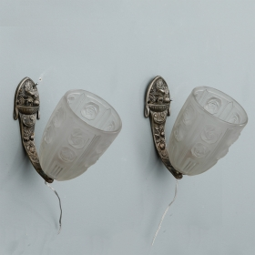 Photo of antique Pair French Art Deco Sconces with Molded Glass Shades