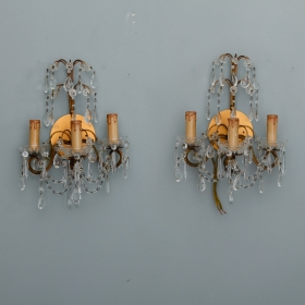 Photo of antique Pair French Three Arm Crystal and Brass Sconces