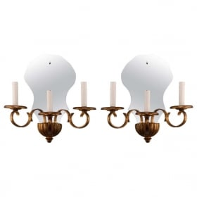 Photo of antique Pair French Three Light Mirrored Gildwood Sconces
