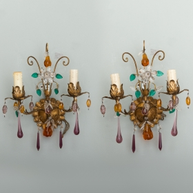 Photo of antique Pair of Italian Two Light Sconces with Glass Fruit