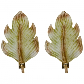 Photo of antique Pair Murano Glass Scavo Style Leaf Sconces