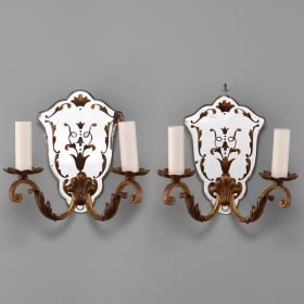Photo of antique Pair Italian Two Light Gilded Mirror Back Sconces