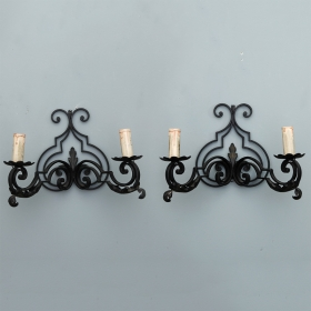 Photo of antique Pair French Scrolled Black Iron Two Light Sconces