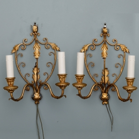 Photo of antique Pair French  Delicate Gilt Metal Two Light Sconces