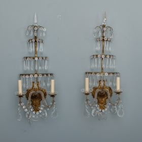 Photo of antique Pair of Italian Two Light Sconces with Three Tiers of Hanging Spear Crystals
