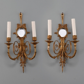 Photo of antique Pair French Two Light Sconces With Round Beveled Mirrors
