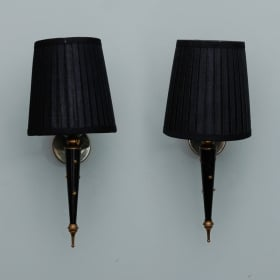 Photo of antique Pair Neoclassical Black Enamel and Brass Single Arm Sconces