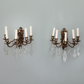 Photo of antique Pair French Five Arm Bronze and Crystal Sconces