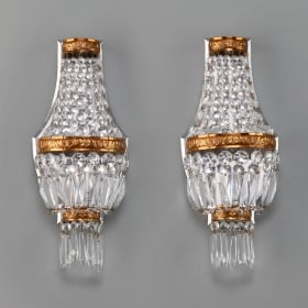 Photo of antique Pair All Beaded Sconces With Hanging Prisms