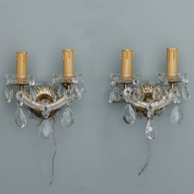Photo of antique Pair Italian Maria Theresa Two Light Crystal Sconces