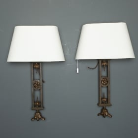 Photo of antique Pair Tall Iron Sconces Made From Antique Balustrades