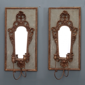 Photo of antique Pair 19th Century Italian Sconces With Carved Mirror on Panel