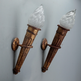 Photo of antique Pair Spanish Neoclassical Style Gilt Metal Torch Wall Lights