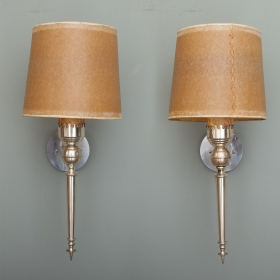 Photo of antique Pair Silver Tone Italian Neo Classical Sconces with Shades