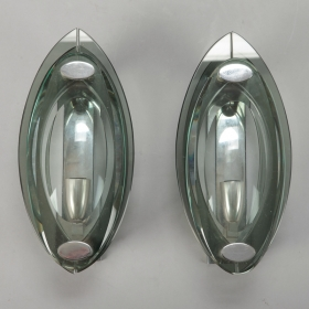Photo of antique Pair Cristal Art Clear Glass Sconces
