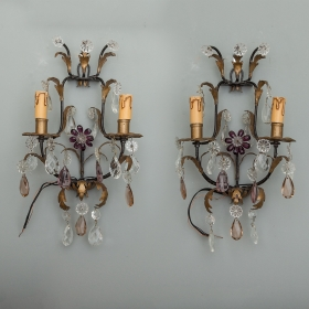 Photo of antique Pair Italian Two Light Tole and Crystal Sconces
