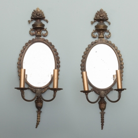 Photo of antique Pair French Dark Bronze Mirror Back Sconces