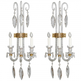 Photo of antique Magnificent Pair Monumental Three Light All Crystal Sconces