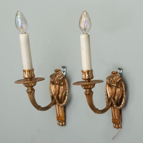 Photo of antique Pair of Louis XVI Style Brass One Arm Sconces