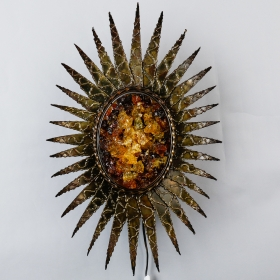 Photo of antique Brutalist Style Sconce in Sun Flower Design With Resin Center