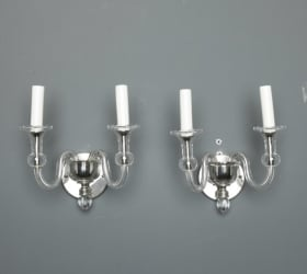Photo of antique Pair Two Light Mid Century Murano Glass Sconces