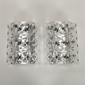 Photo of antique Pair Large Kinkeldey Faceted Crystal Sconces