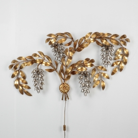 Photo of antique Large Italian Gold and Silver Gilt Metal Wisteria Wall Sconce