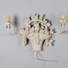Photo of antique Pair of French Two Light Carved Fruit Basket Sconces