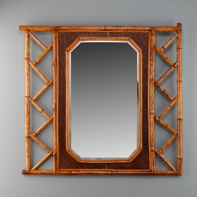 Photo of antique Vintage Mirror with Bamboo and Leather Frame