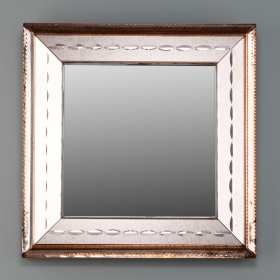 Photo of antique Small Square Peach and Bronze Mirror