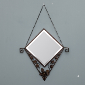 Photo of antique Triangular French Art Deco Fer Forge Mirror