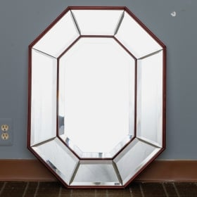 Photo of antique Art Deco Octagonal Shape Mirror With Wood Frame
