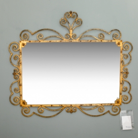 Photo of antique Large Italian Gilt Metal Horizontal Mirror With Elaborate Scroll Work