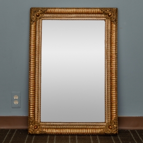 Photo of antique 19th Century Louis Philippe Ribbed Gilt Wood Mirror with Cartouche Corners