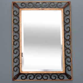Photo of antique Art Deco Gilt Iron Framed Rectangular Mirror