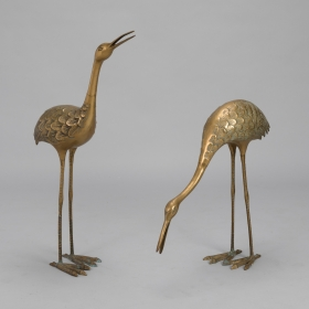 Photo of antique Pair Mid Century Tall Brass Crane Statues