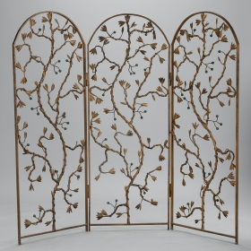 Photo of antique Gilt Metal Three Panel Floor Screen with Vine and Berry Motif